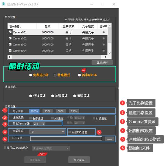 渲染参数设置面板